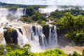 Panorama view iguassu falls waterfall in brazil is the largest series of waterfalls on the planet located argentina and paraguay Royalty Free Stock Photo