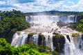 Panorama view of iguassu falls waterfall in brazil is the largest series waterfalls on the planet located argentina and paraguay Stock Photos