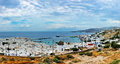 Panorama view of mykonos a beautiful the harbour island in greek in the mediterranean see Royalty Free Stock Photography
