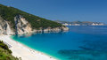 Panorama view of Myrtos beach on the island Kefalonia. Royalty Free Stock Photo