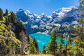 Panorama view of oeschinensee oeschinen lake on bernese oberla the in summer over the and the alps the other side near kandersteg Stock Images