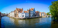 Panorama view of river canal and colorful houses in Bruges Royalty Free Stock Photo