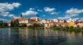 Panorama view of Telc city, Czech Republic Royalty Free Stock Photo