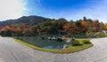 Panorama view of Tenryu-ji garden Royalty Free Stock Photo