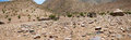 Panorama of a village in namibia small wild landscape the kaokoland desert Royalty Free Stock Photos