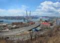 Panorama of vladivostok bridge over zolotoy rog bay golden horn primorye russia Royalty Free Stock Photo