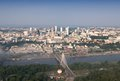 Panorama of warsaw city in poland aerial view swietokryzski bridge Royalty Free Stock Photo