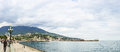 Panorama of the waterfront of the city and Bay marine station Royalty Free Stock Photo