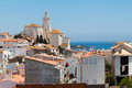 Panorama of white village Cadaques, Spain Stock Image