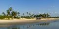 Panorama of wild beach in South Goa Royalty Free Stock Photos