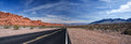Panorama of a winding road nevada through the valley fire state park Royalty Free Stock Photos