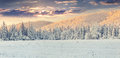 Panorama of the winter sunrise in the mountains. Royalty Free Stock Photo