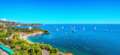 Panorama of yachts near the Monte Carlo Beach Hotel Royalty Free Stock Photo