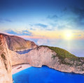 Panorama of zakynthos island greece with a shipwreck onpanorami panoramic view on the sandy beach at sunset shot tilt and shift Stock Photo