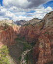 Panorama of the zion canyon as seen from angels landing national park utah Royalty Free Stock Photos