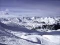 Panoramasikt på mont blanc mountain Arkivbilder