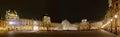 Panoramautsikt av louvre art museum på natten Arkivfoto