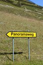 Panoramaweg sign to a panorama view Royalty Free Stock Photography
