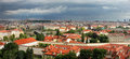 Panoramic aerial skyline view of Prague. Royalty Free Stock Photos