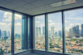 Panoramic aerial view of big city from window Royalty Free Stock Photo