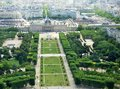 Panoramic aerial view of paris city with nice green boulevard Stock Image