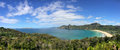 Panoramic aerial view of Taupo Bay in Northland, New Zealand Royalty Free Stock Photo