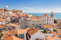 Panoramic of alfama rooftops lisboa one the most popular neighborhoods portugal Royalty Free Stock Photo