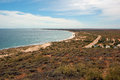 Panoramic Australian landscape - The Bay of Exmouth. Yardie Creek Gorge in the Cape Range National Park, Ningaloo Royalty Free Stock Photo