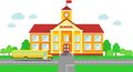 Panoramic background with school building and school bus in flat style Royalty Free Stock Photo