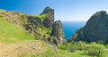Panoramic Crimean landscape - Karadag volcanic mountain range Stock Images