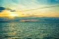 Panoramic dramatic sunset sky and tropical sea at Royalty Free Stock Photo