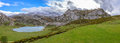 Panoramic ercina lake of the from la picota hill in asturias spain Stock Images