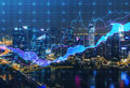 Panoramic evening New York view with the digital financial chart. Royalty Free Stock Photo
