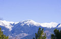 The panoramic himalayan range of patnitop view snow covered peaks lower in Stock Photo