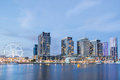 Panoramic image of the docklands waterfront in melbourne austra at night australia Stock Image