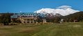 Panoramic image of Mount Ruapehu and Chateau Tongariro Royalty Free Stock Photo