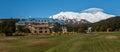Panoramic image of Mount Ruapehu and Chateau Tongariro Royalty Free Stock Photo