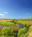 Panoramic landscape with pond Royalty Free Stock Photos