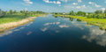 Panoramic landscape with small river Oril near Pekelne village in Ukraine Royalty Free Stock Photo