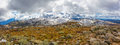 Panoramic landscape of snow covered peaks of Australian Alps under beautiful clouds. New South Wales, Australia Royalty Free Stock Photo