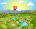 Panoramic landscape vector illustration of a with a hot air ballon flying over Royalty Free Stock Images