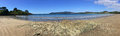 Panoramic landscape view of Coopers Beach New Zealand Royalty Free Stock Photo