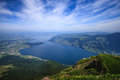 Panoramic Landscape View of Lake Lucerne and mountain ranges from Rigi Kulm viewpoint, Lucerne, Switzerland, Europe Royalty Free Stock Photo