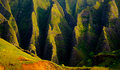 Panoramic landscape view of spectacular Na Pali cliffs, Kauai Royalty Free Stock Photo