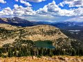 Panoramic Landscape View of Uinta Mountains, clouds, lakes and forest, Utah, USA, America West Royalty Free Stock Photo