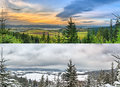 Panoramic landscapes - 2 seasons Royalty Free Stock Images