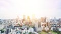 Panoramic modern city skyline bird eye aerial view from tokyo tower under dramatic sunrise and morning blue sky in Tokyo, Japan Royalty Free Stock Photo