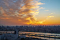 Panoramic modern cityscape building bird eye aerial view with Mount Fuji under sunrise and morning blue bright sky in Tokyo,Japan Royalty Free Stock Photo