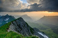 Panoramic mountain view from Brienzer Rothorn Stock Photo