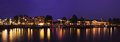 Panoramic night cityview of Amsterdam Royalty Free Stock Images